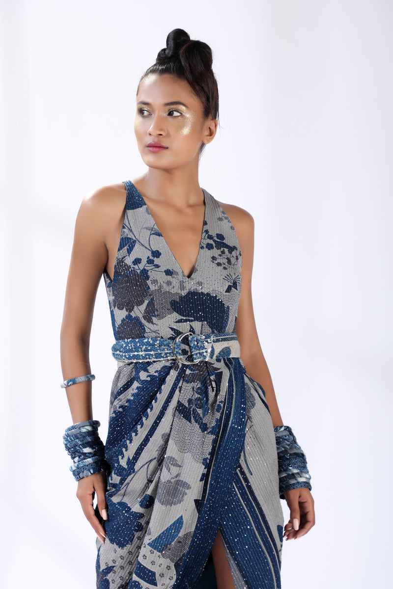 Indigo Blue Floral Sheeted Drapped Dress With Belt