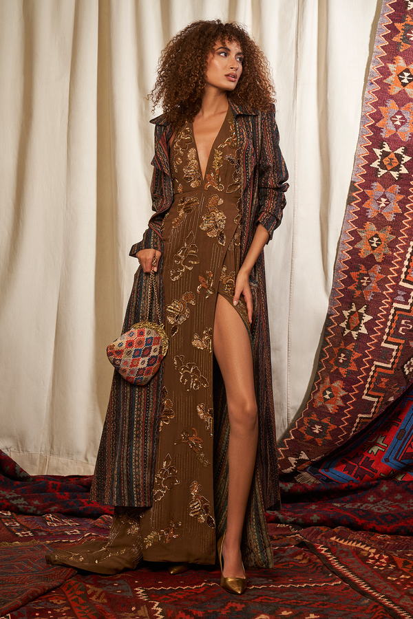 Brown Maxi Dress With Baroque Handwork