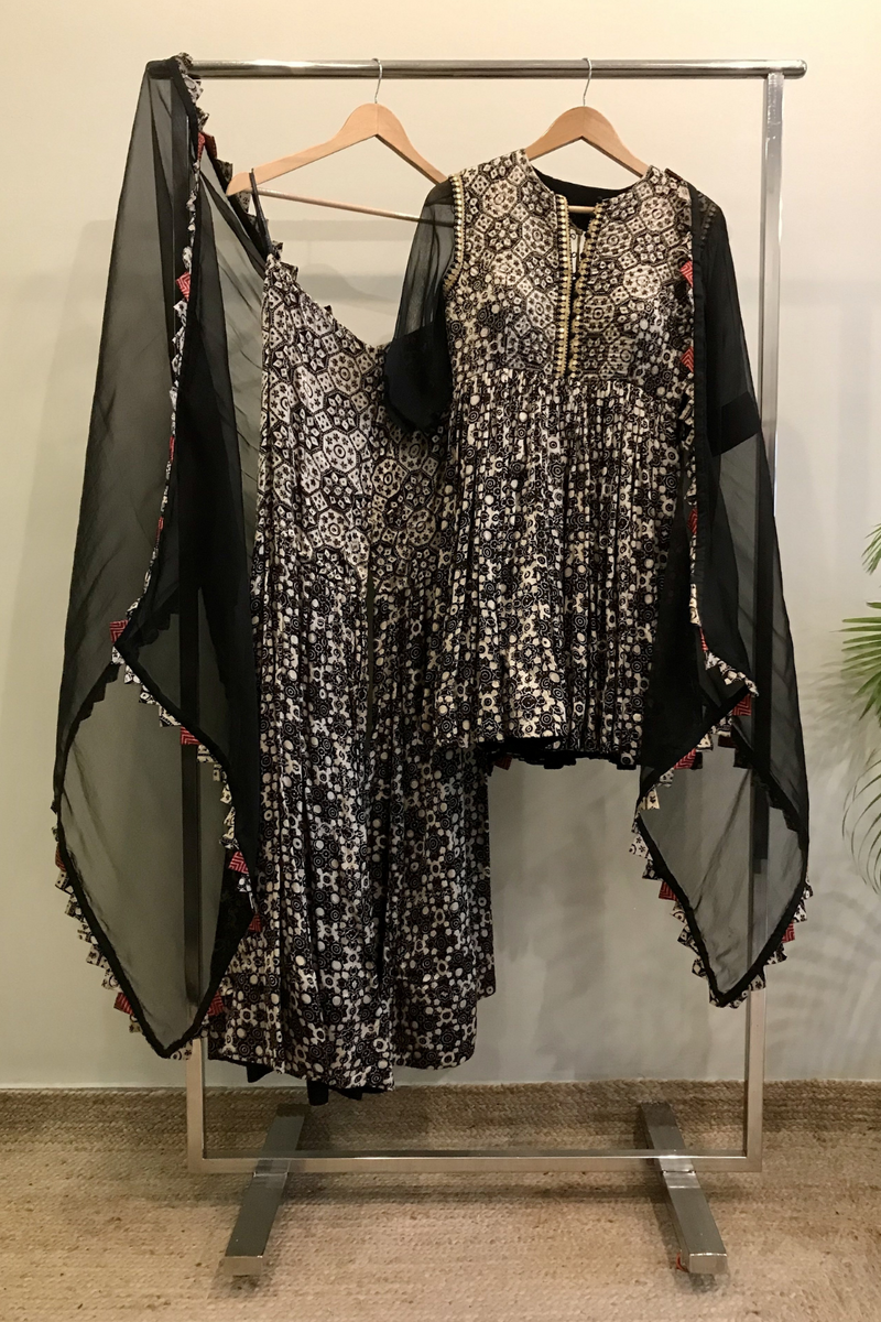 Black Printed Sharara Set