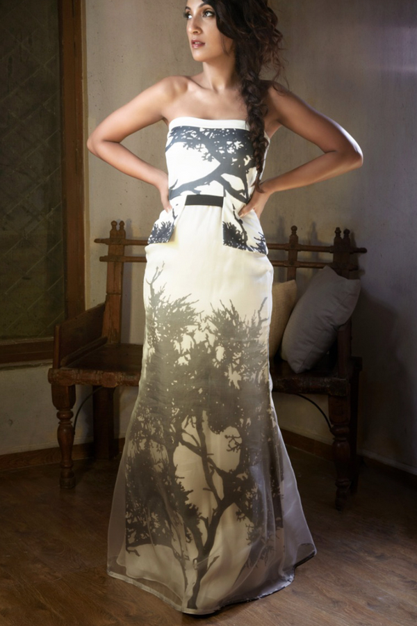 White Tree Of Life Print Tube Dress