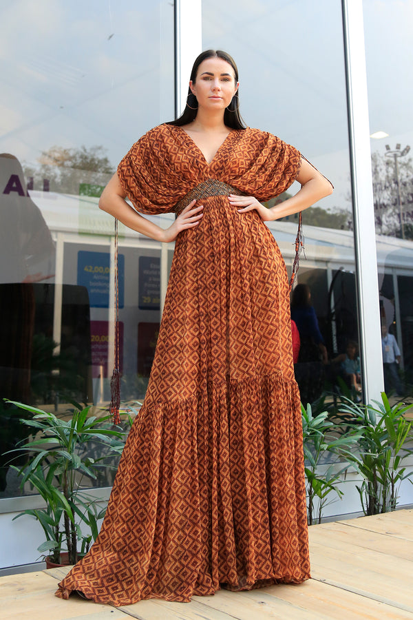Basket Weave Print Dress With Gold Handwork Belt