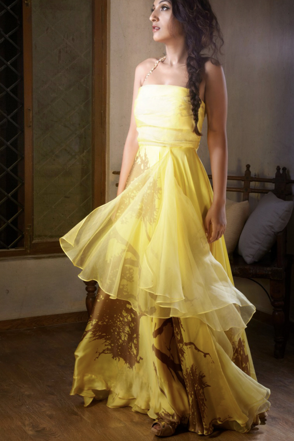 Yellow Printed Gown With Sheer Panel & Metal Chain Detail