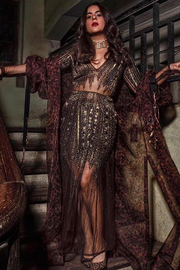 Shereen Sikka In Chocolate Brown Gold Hand Embellished Dress and Stone Print Trench Coat