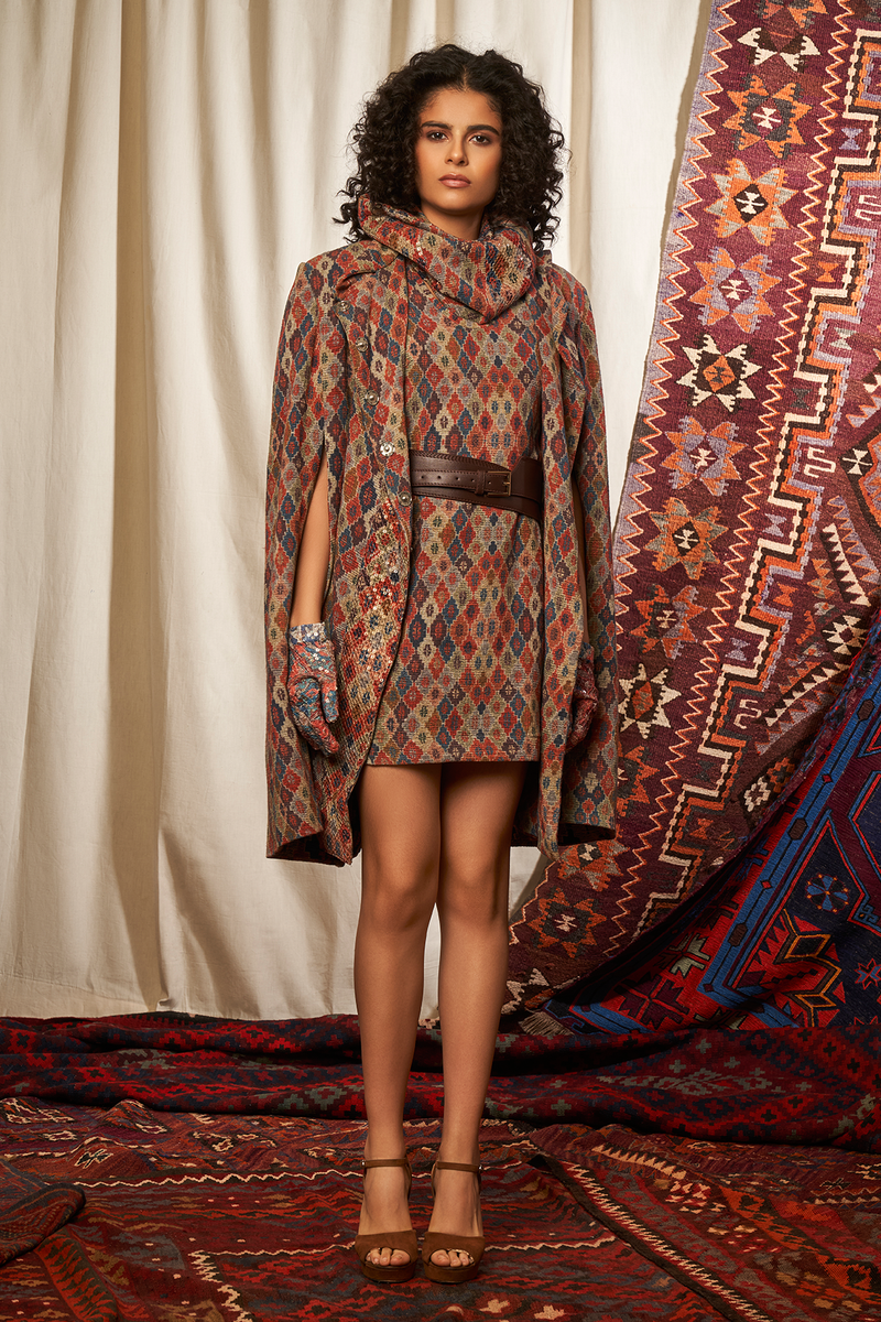Brick Print Cape With Inner Dress & Cowl