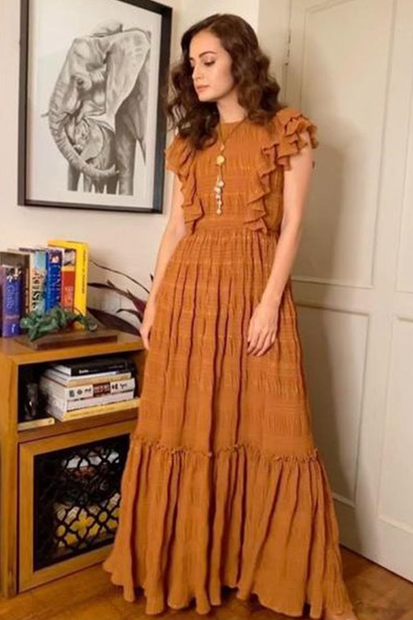 Dia Mirza In Mustard-Gold Woven Zari Maxi Dress