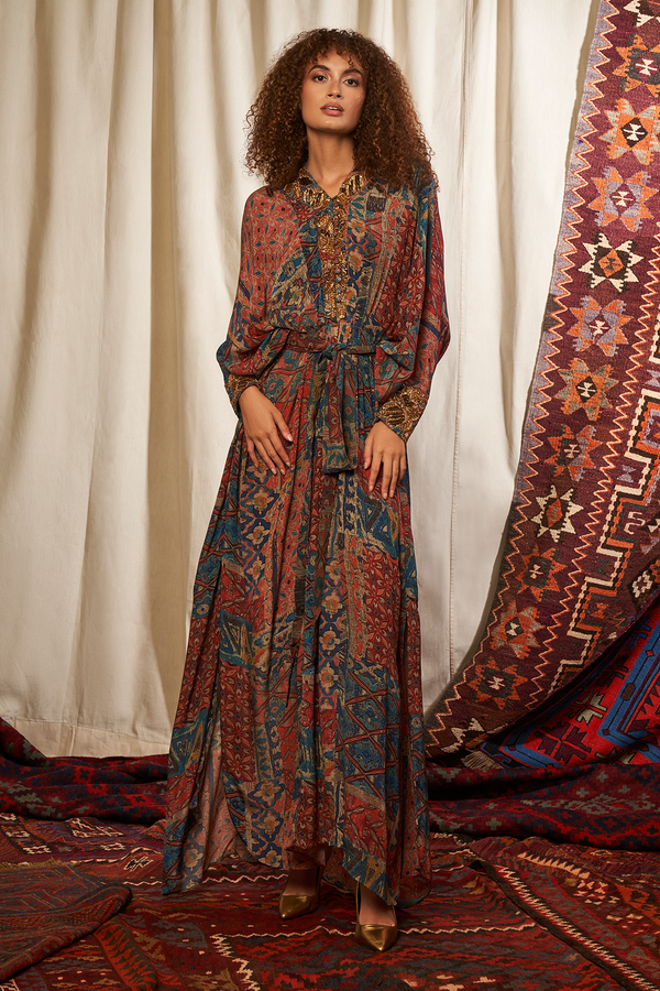 Carpet Print Kaftan & Belt With Baroque Handwork