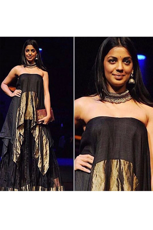 Black & Gold Asymmetrical Tube Dress & Black Sheer Lehenga