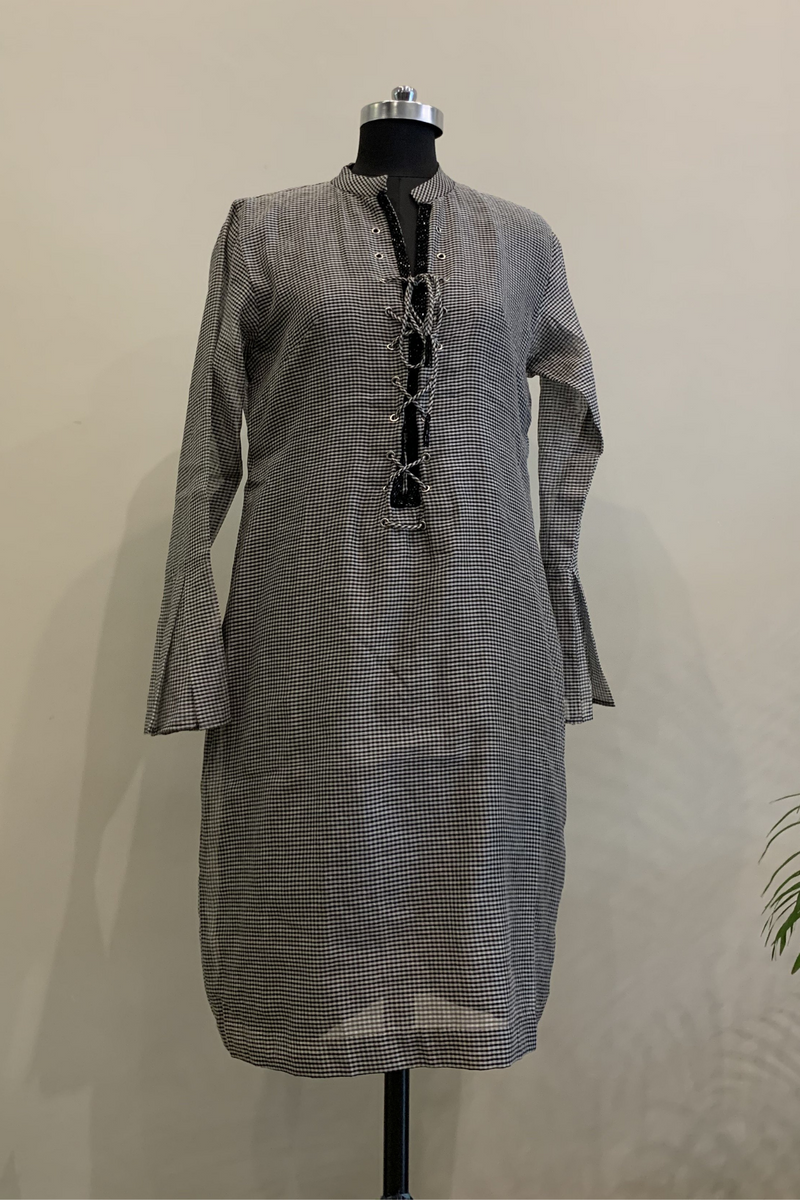 Gingham Dress With Black Cutpipe Handwork