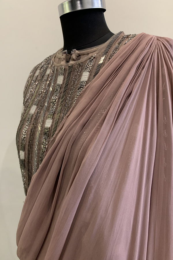 Mauve Saree Jumpsuit With Pewter Handwork