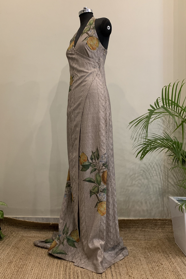 Knit Weave & Floral Print Halter Neck Trail Gown