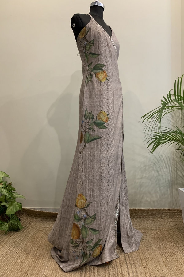 Knit Weave & Floral Print Slip Dress Gown With Baadla Handwork