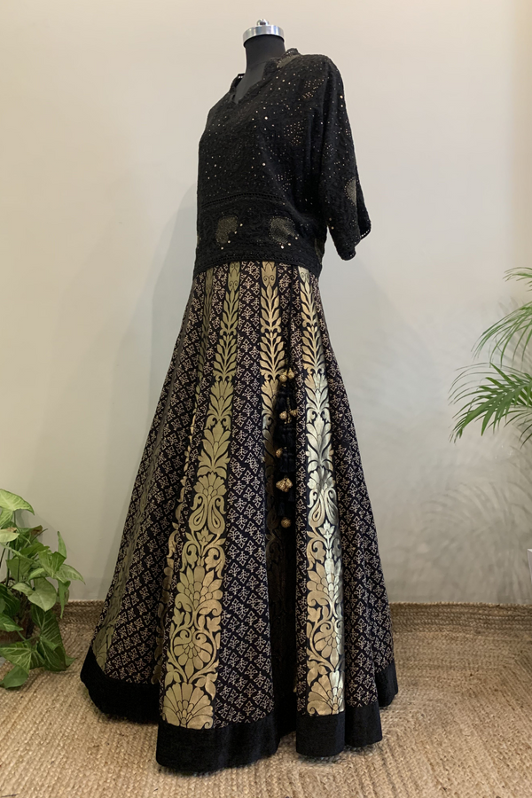 Black Chikankari Top With Printed Lehenga Skirt