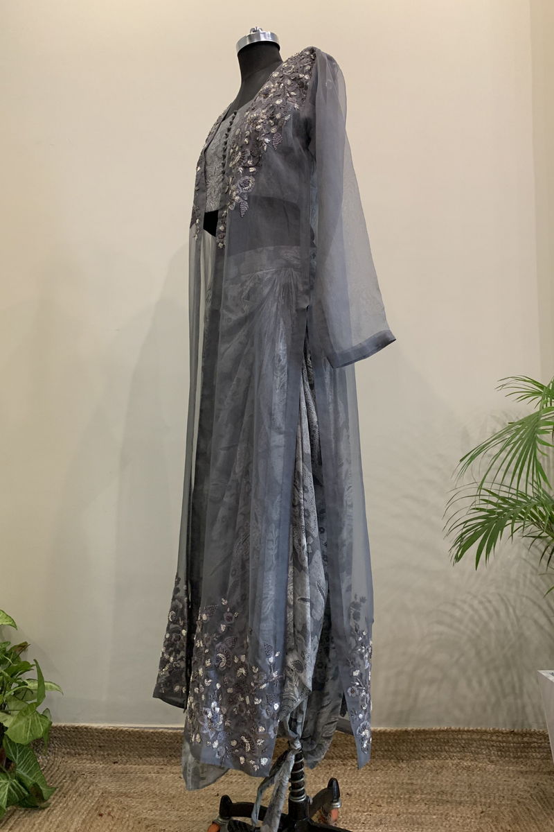 Rumi Print Crop Top & Dhoti Skirt With Pewter Handwork Jacket Set