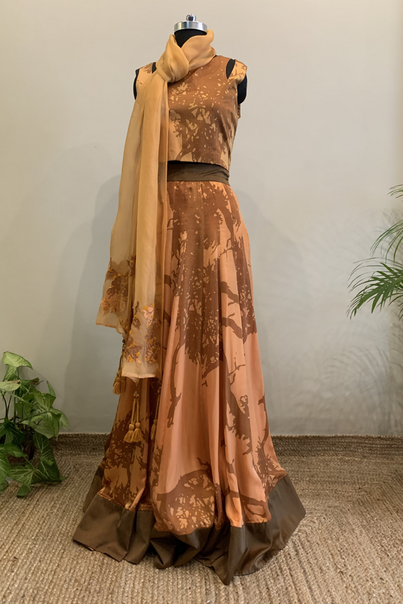 Peach Tree Of Life Print Lehenga Set