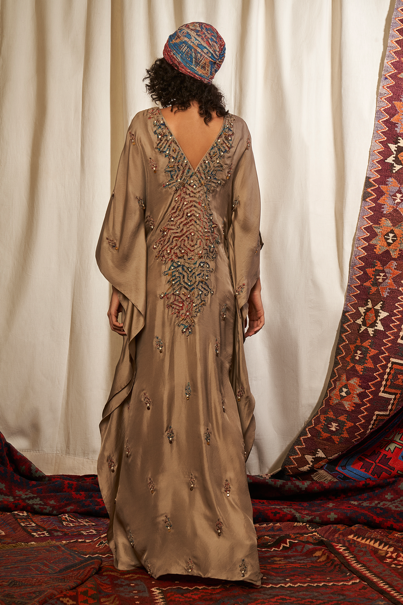 Almond Kaftan With Applique Work