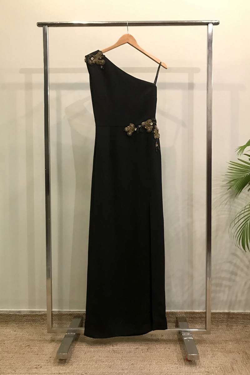 Black One Shoulder Slit Dress With Gold Handwork Applique
