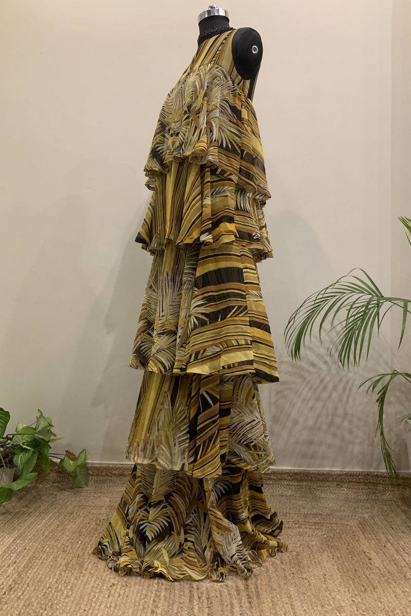 Yellow Printed Tiered Dress With Black Bead Handwork