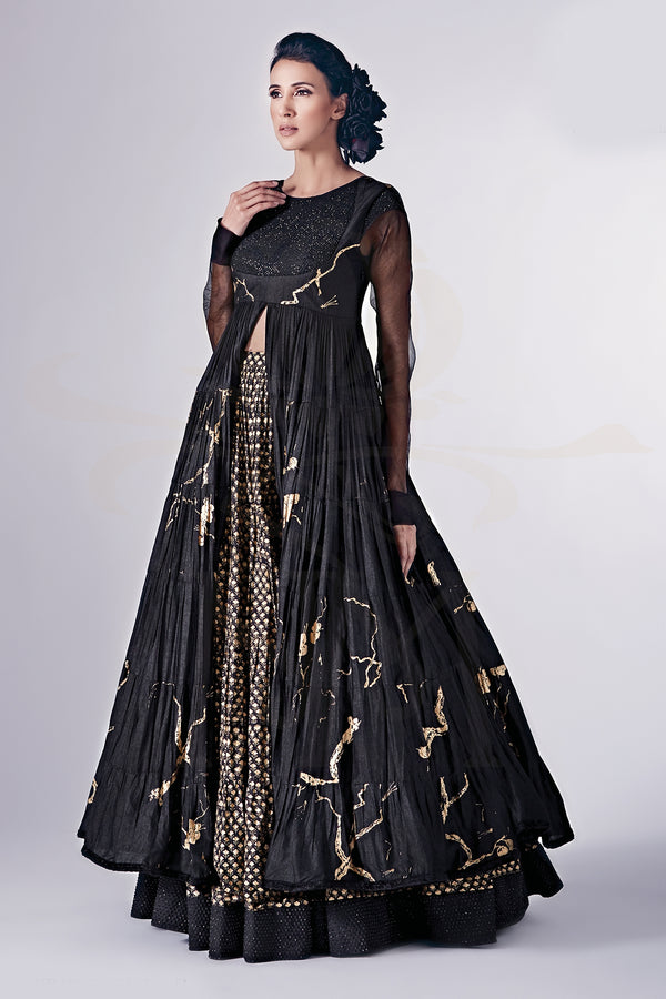 Black & Gold Lehenga Set With Swarovski Work