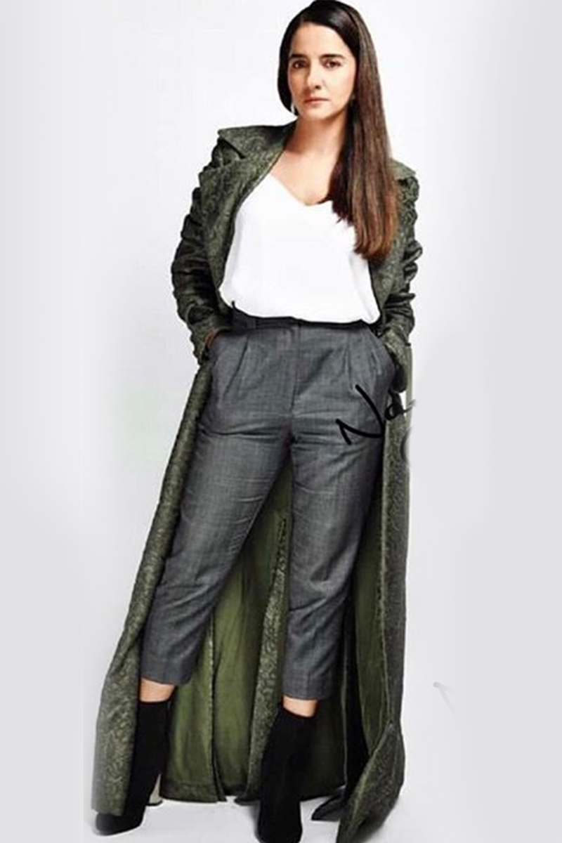 Shruti Seth In Olive Green Trench Coat
