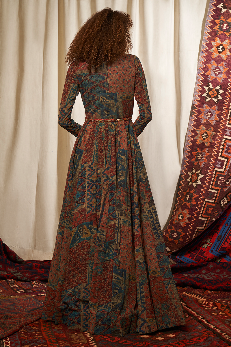 Carpet Print Anarkali & Dupatta