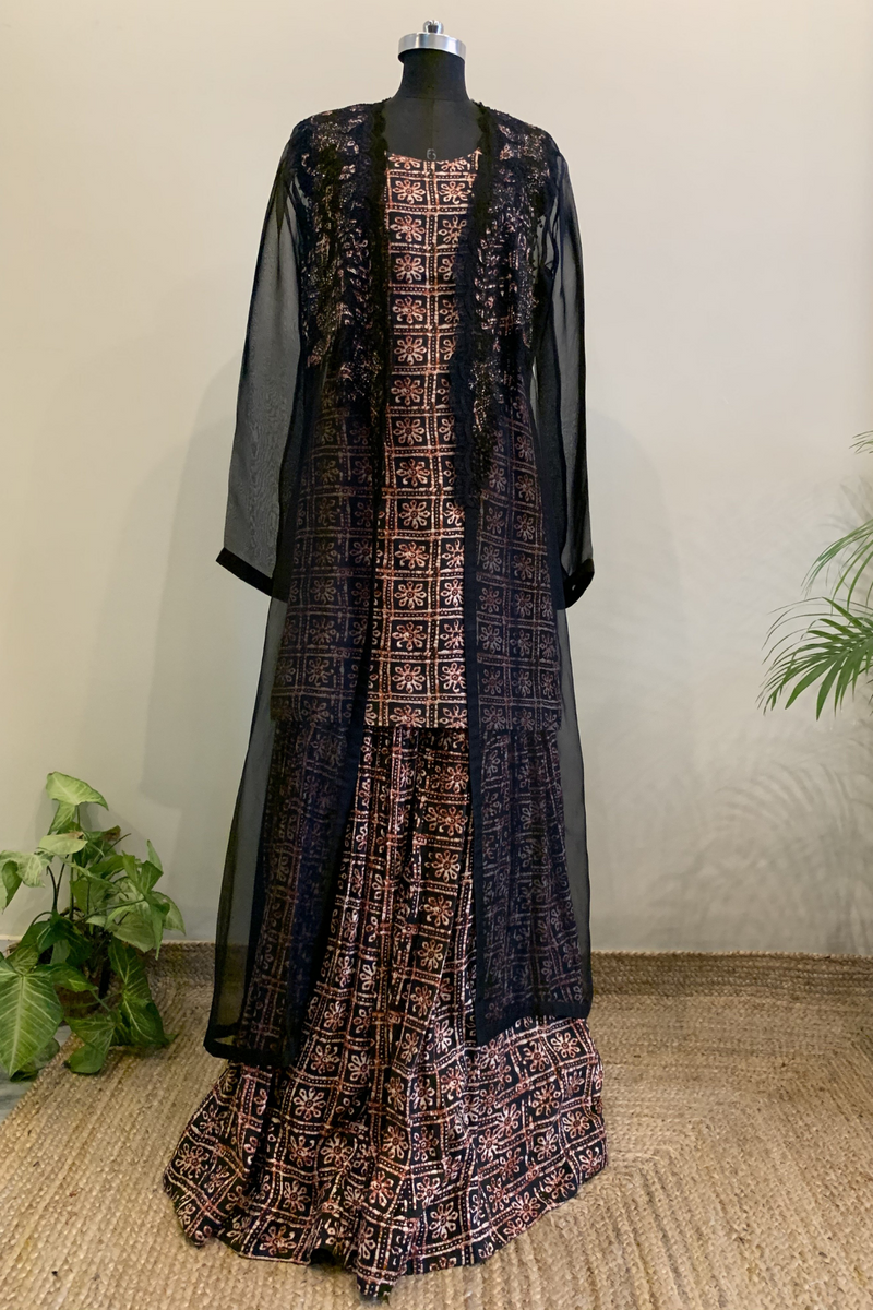 Block Print Sharara Set With Applique Jacket