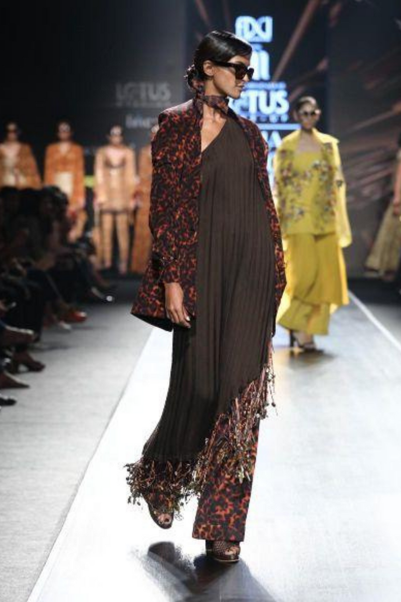 Chocolate Brown One Shoulder Cape With Hand Made Fringes