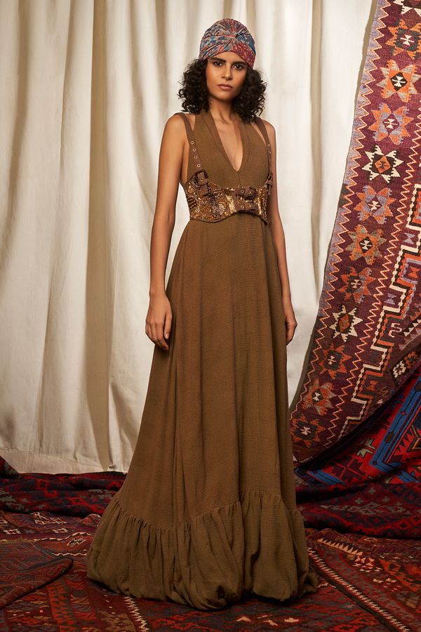 BROWN MAXI DRESS & GIRDLE WITH BAROQUE HANDWORK