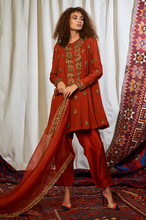 RUST SALWAR SET WITH BAROQUE HANDWORK
