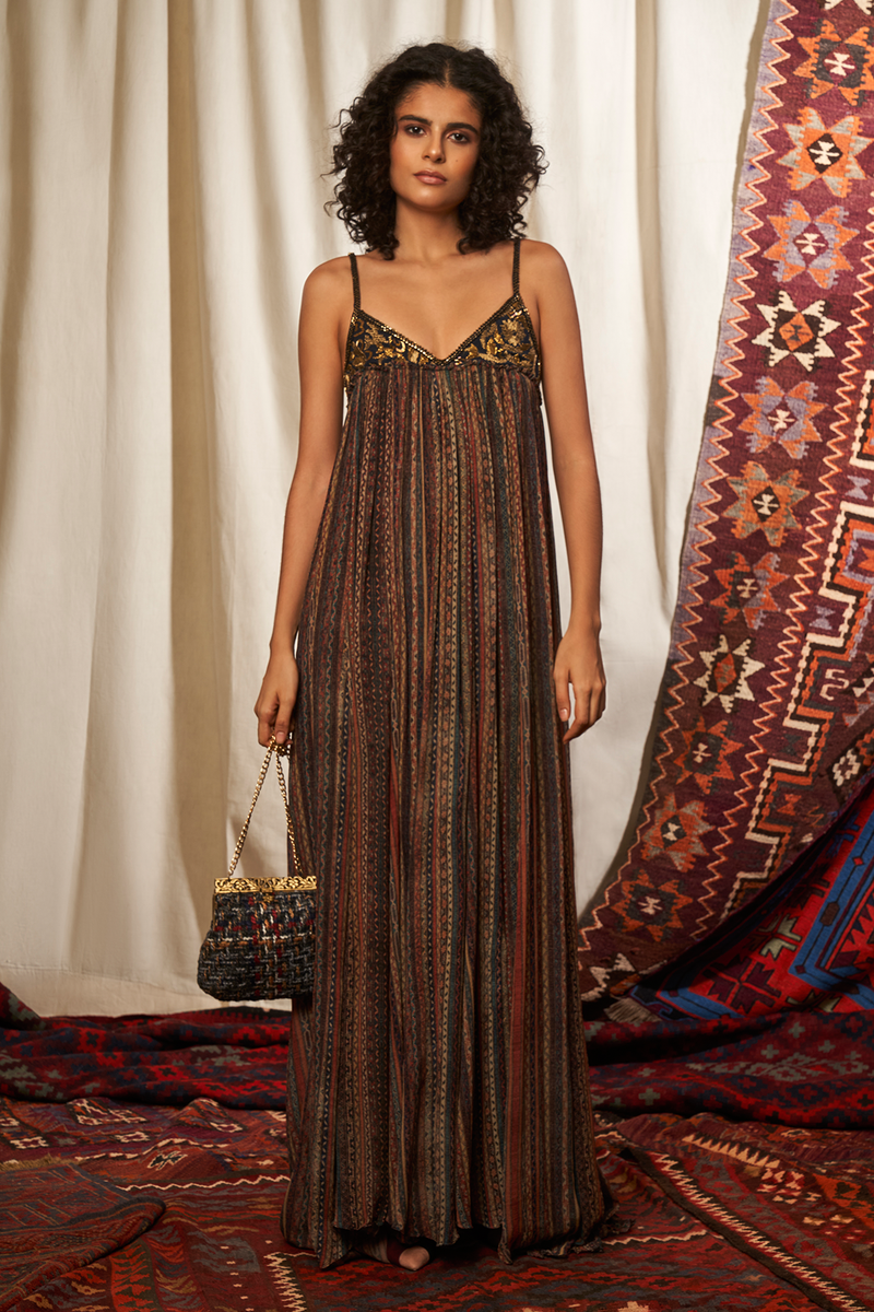 Stripes Print Maxi Dress With Baroque Handwork