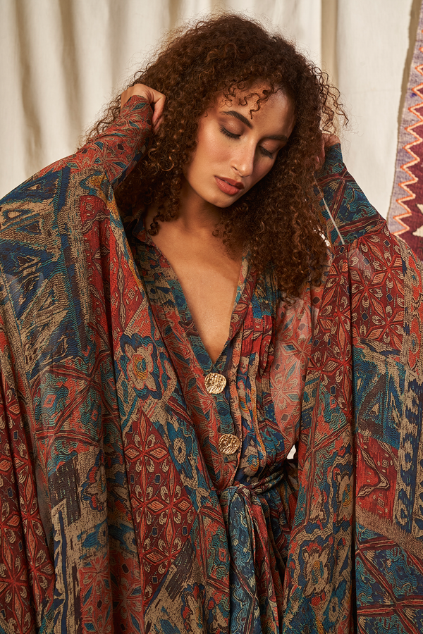 CARPET PRINT KAFTAN WITH BELT