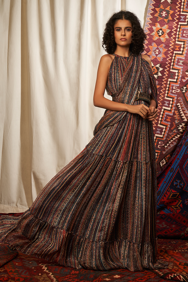 STRIPES PRINT SAREE MAXI DRESS WITH BELT