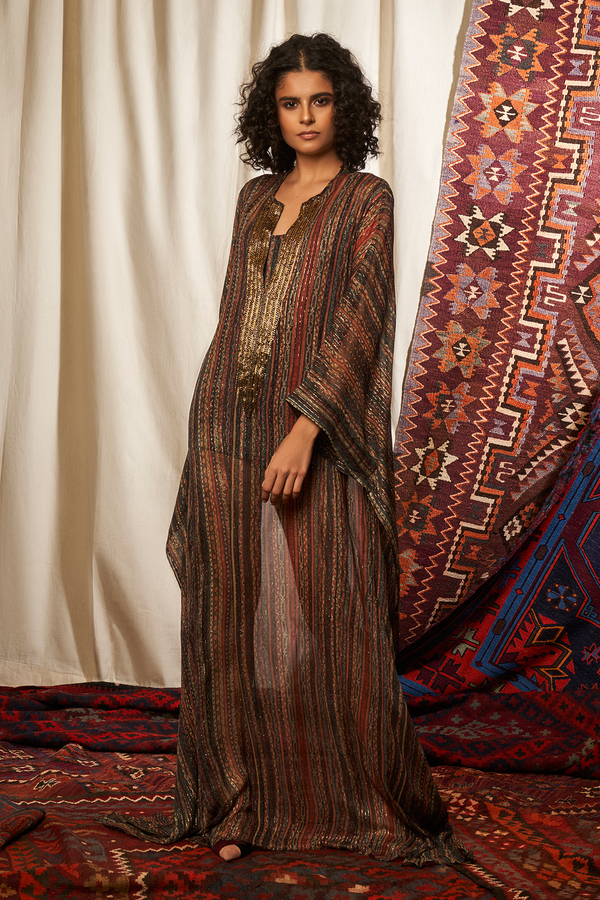 Stripes Print Kaftan With Embellished Neck