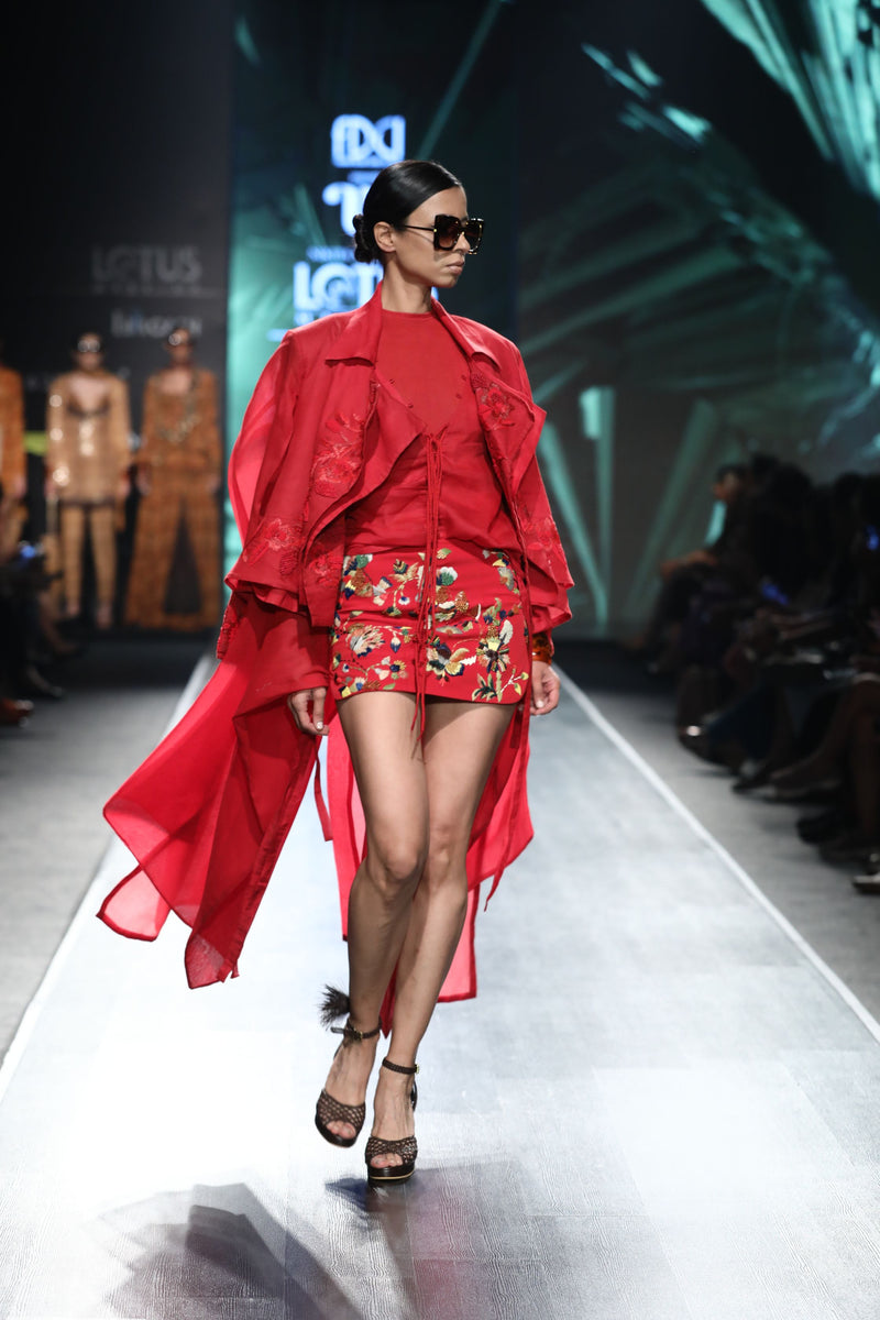 Cherry Red Trench Coat With Tonal Embroidery