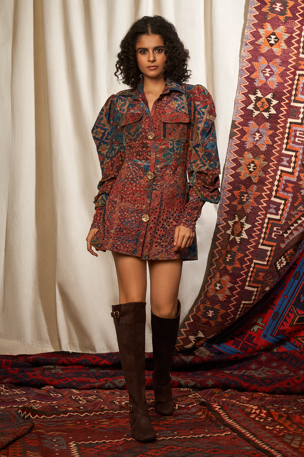 CARPET PRINT CUTWORK DRESS WITH MUTTON SLEEVES