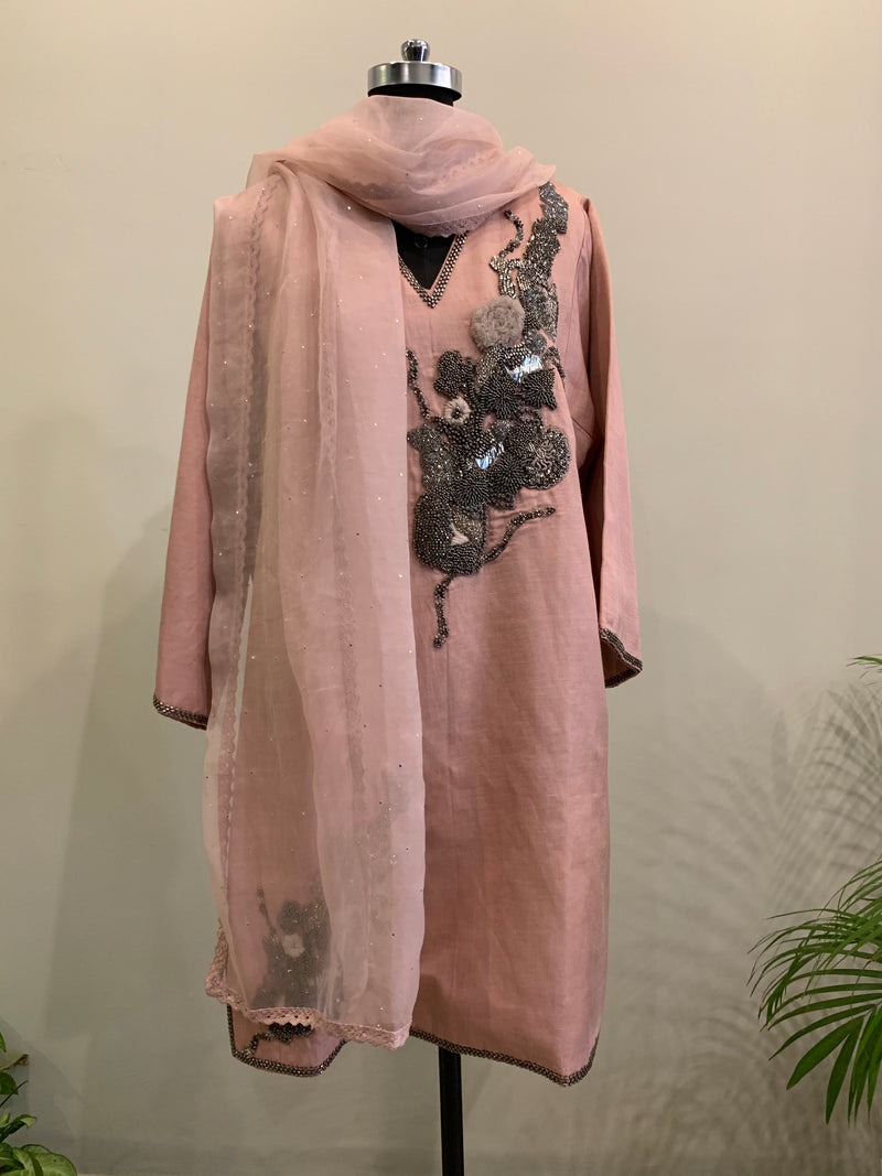 BLUSH PINK CKD WITH PEWTER HANDWORK