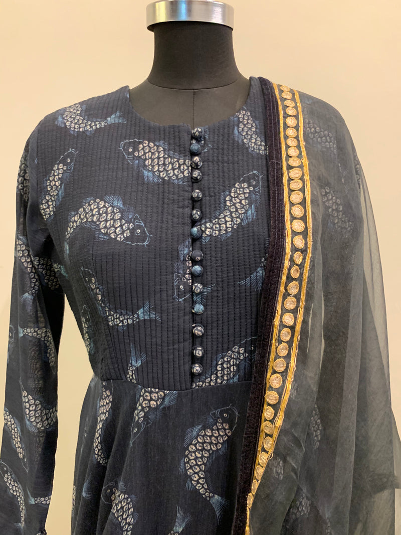 Navy Blue Fish Print CKD With Gota Handwork