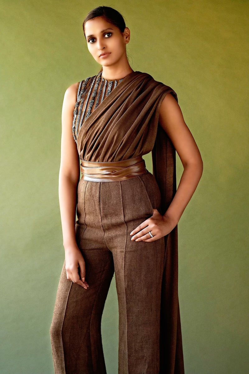 Dark Tan Pewter Hand Embellished Saree Jumpsuit