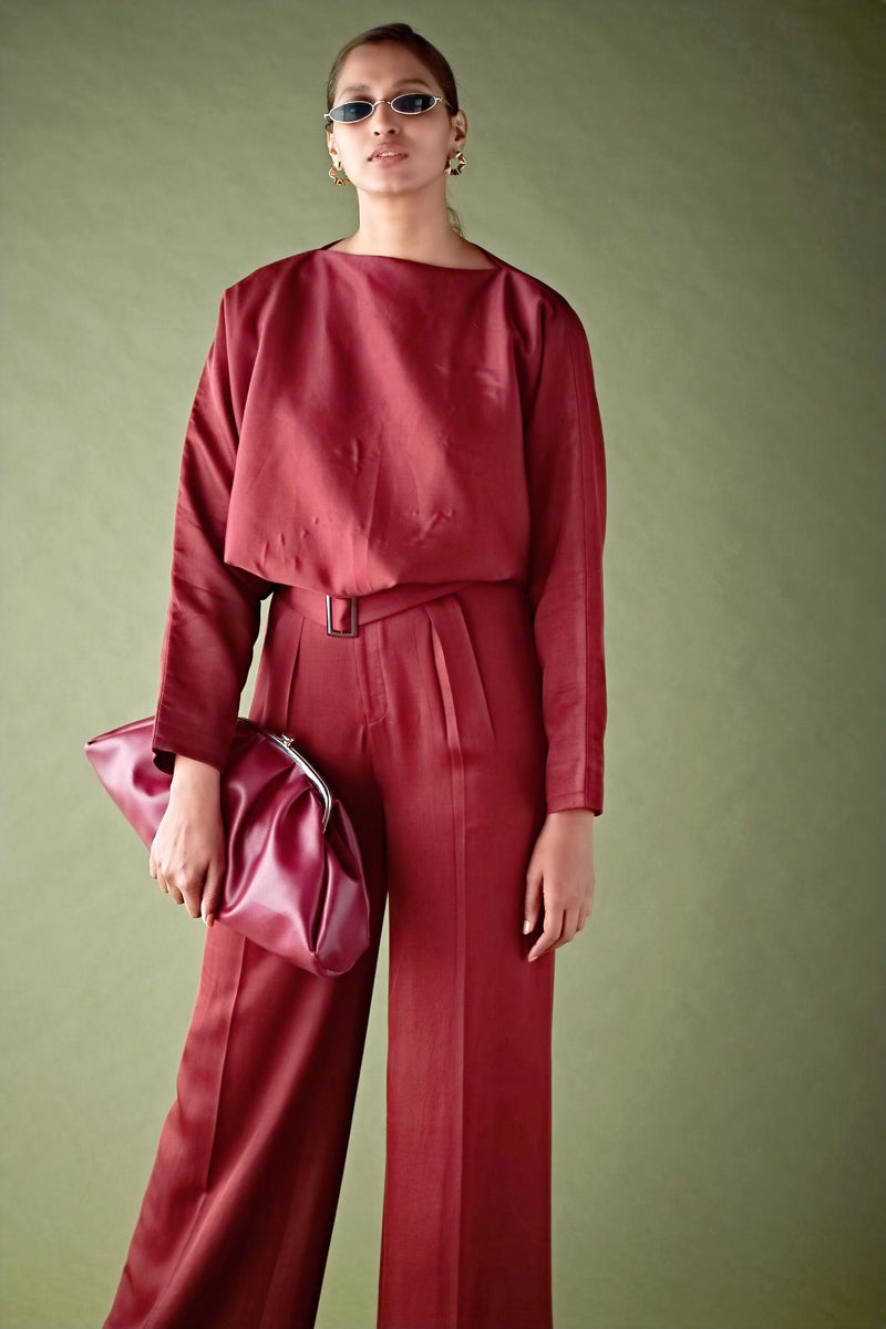 Beetroot Oversize Blouse & Pants