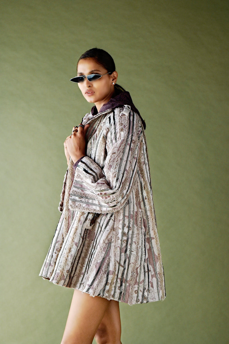 RUMI PRINT PEWTER HAND EMBELLISHED COAT DRESS