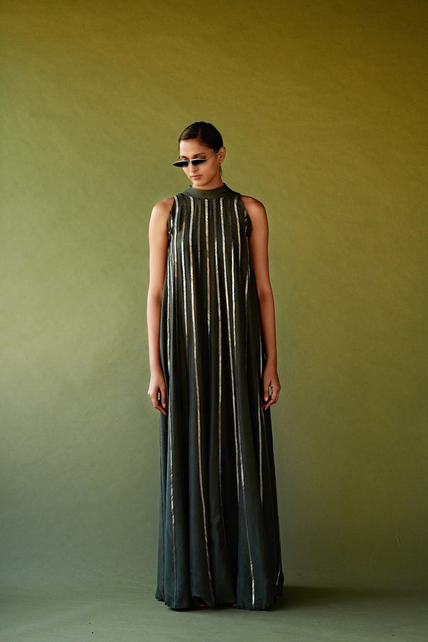 Olive Green Pewter Hand Embellished Column Gown