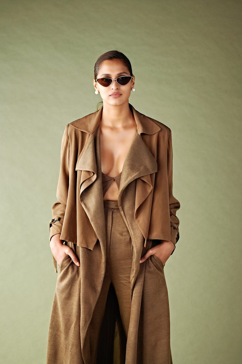 DARK TAN FLAT KNIT TRENCH COAT