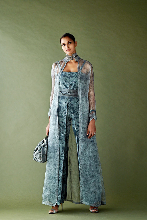 Rumi Print Tube Jumpsuit With Shoulder Buckle Details