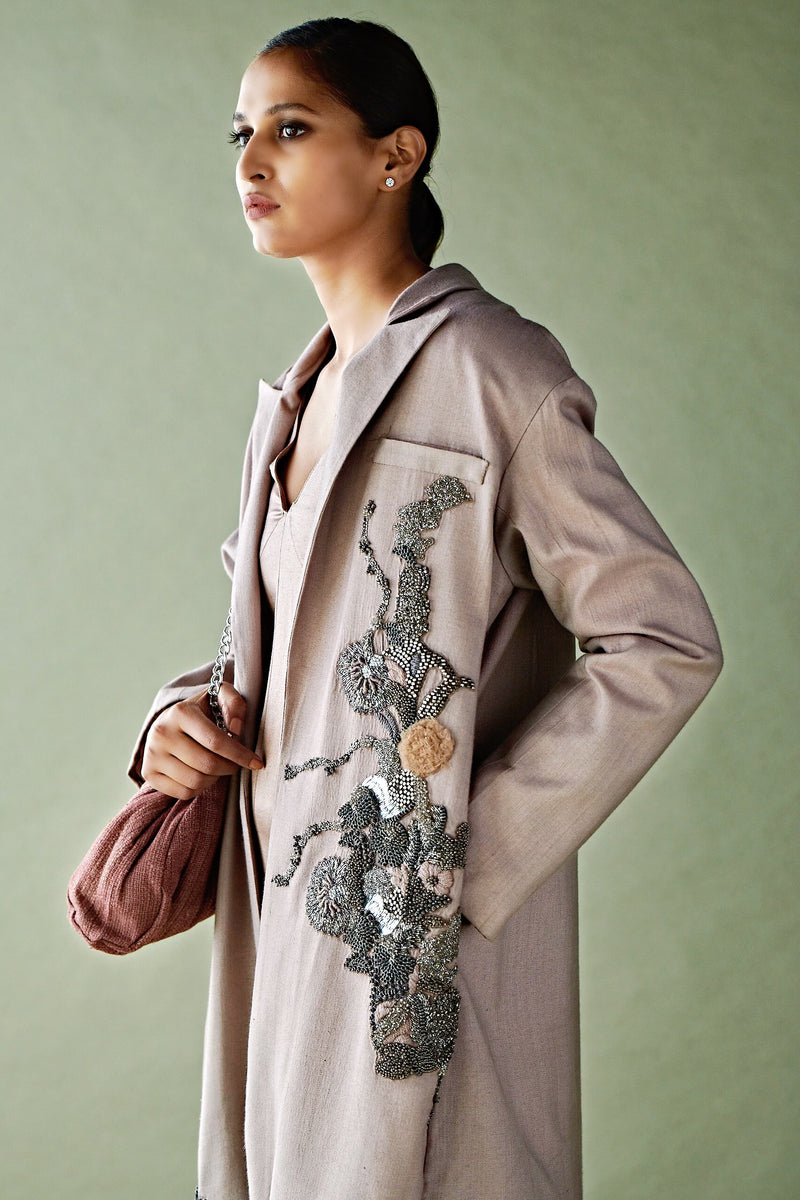Blush Pink Pewter Hand Embellished Jacket