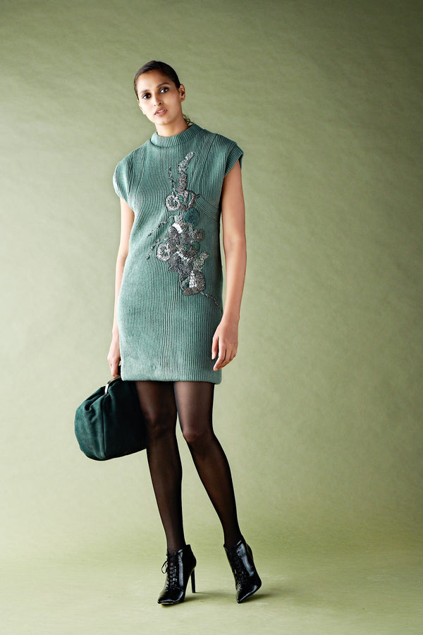 Jade Green Pewter Hand Embellished Shift Dress