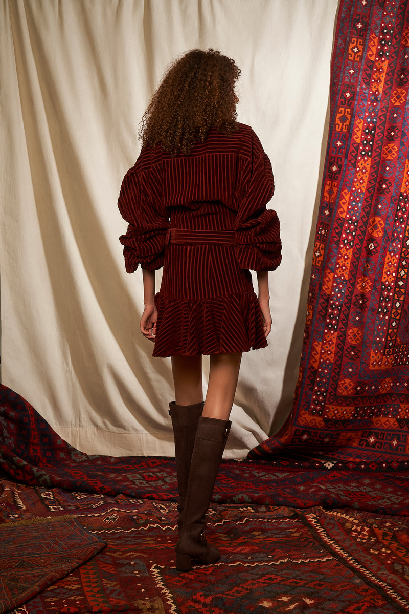 Oxblood Corduroy Skater Skirt With Belt