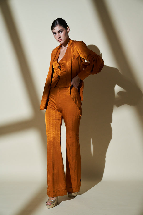 MUSTARD-YELLOW-GOLD 3 PIECE PANT SUIT WITH BALLOON SLEEVES