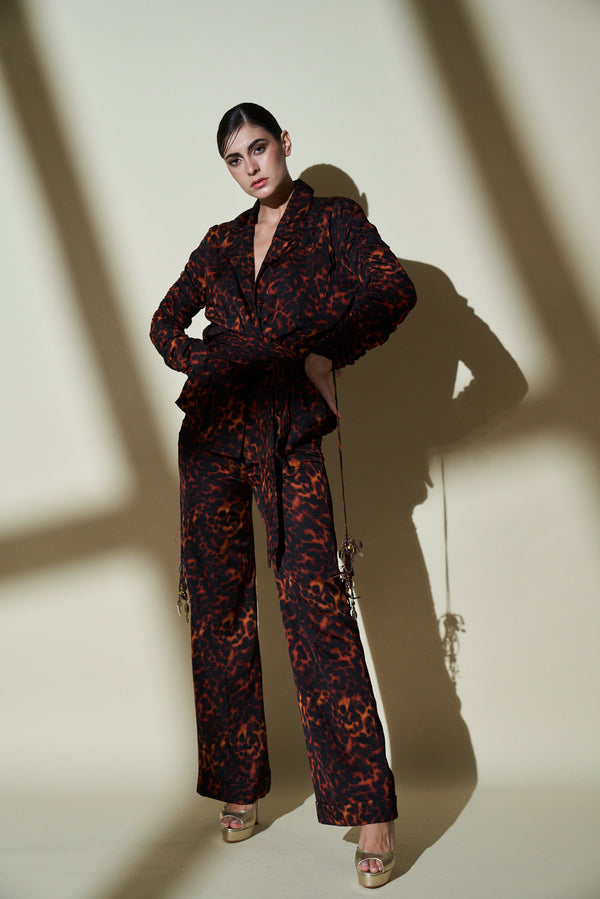 Stone Print Pant Suit With Gathered Sleeves & Belt