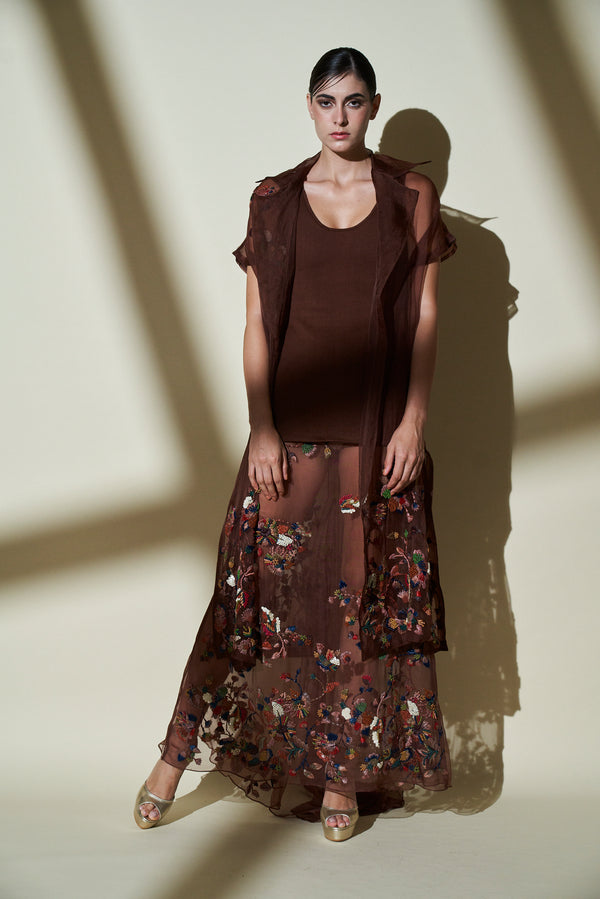 Chocolate Brown Short Sleeves Trench Coat, Lehenga Skirt With Multicolor Hand Embroidery & Knit Tunic Top