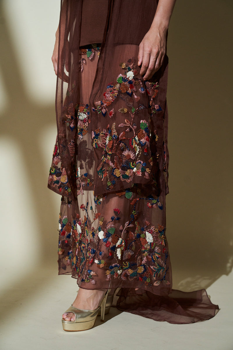 CHOCOLATE BROWN SHORT SLEEVES TRENCH COAT, LEHNGA SKIRT WITH MULTICOLOR HAND EMBROIDERY & KNIT TUNIC TOP