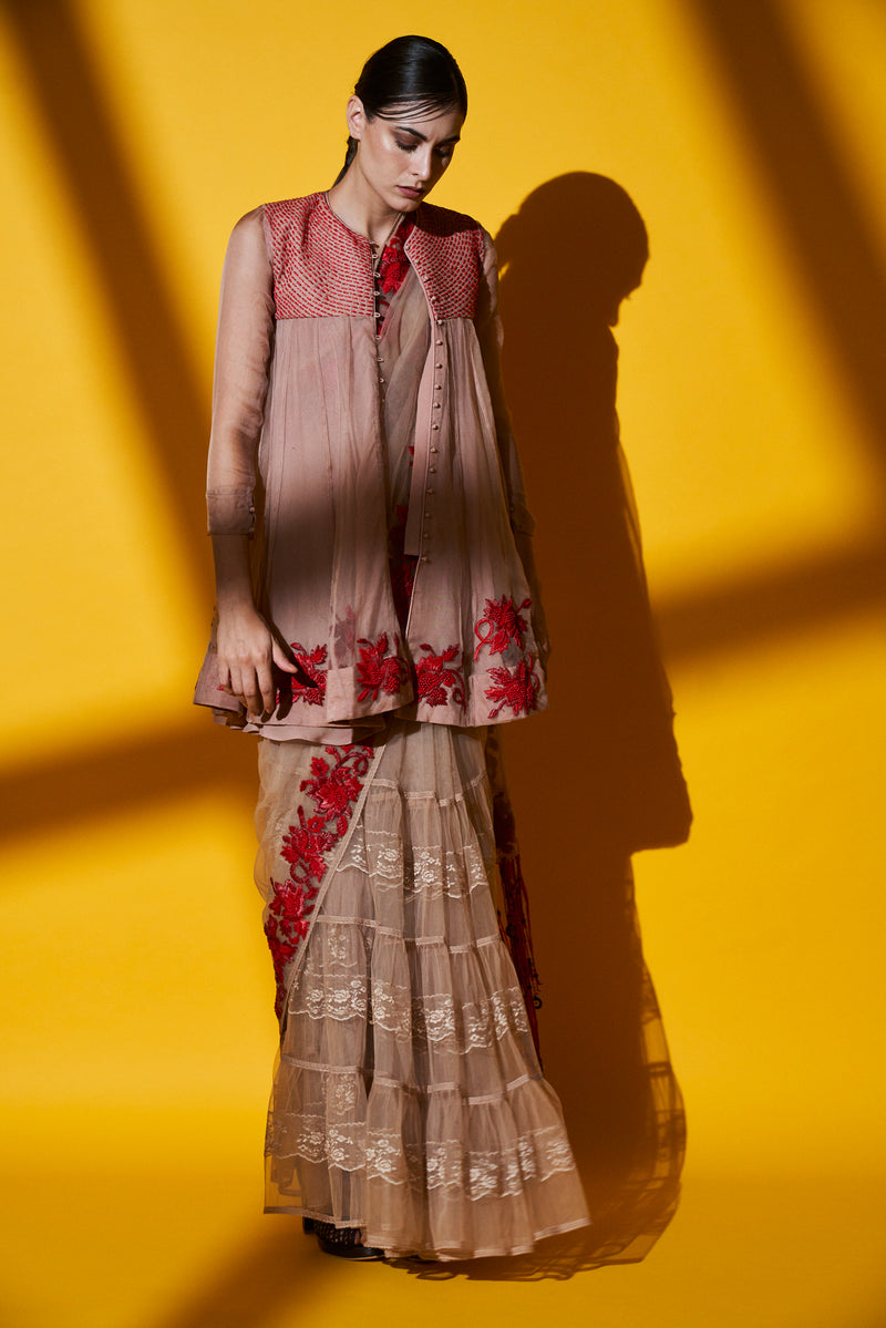 BLUSH PINK HAND EMBROIDERED KEDIA JACKET TOP & SHARARA